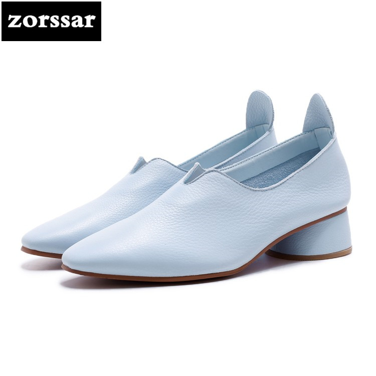 {Zorssar} 2018 NEW Genuine leather fashion women shoes casual Slip-on womens low heel High heels Round toe pumps Lazy shoes genuine cow leather spring shoes wedges soft outsole womens casual platform shoes high heel round toe handmade shoes for women