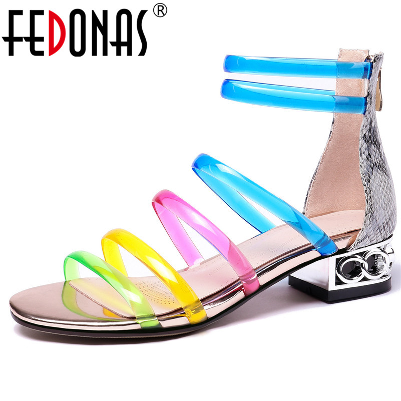 FEDONAS Fashion Sexy Women Thick Heels Summer Party Wedding Shoes Woman Med Heels Zipper High Quality