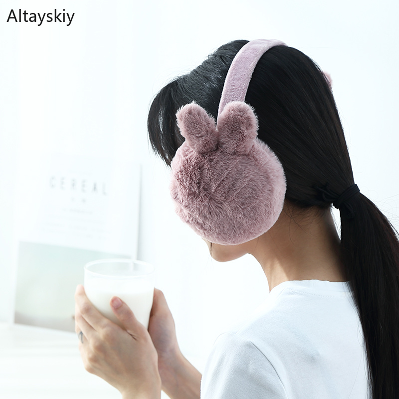 Earmuffs Women Solid Winter Warm Plus Velvet Soft Plush Korean Style Kawaii Folding Antifreeze Simple Earmuff Daily Ear Womens