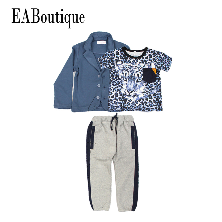EABoutique New Fashion Children Sport  Clothing Sets Kids Boys Tracksuit  Winter Jackets With Leopard T-shirt Casual Pants