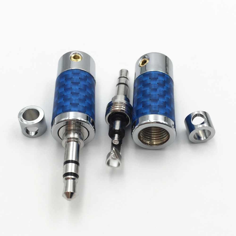 4 шт. родий позолоченный штекер 3,5 мм 3 Pole стерео Мужской Аудио разъем для наушников ремонт 3,5 AUX припоя DIY синий углеродного волокна Разъем