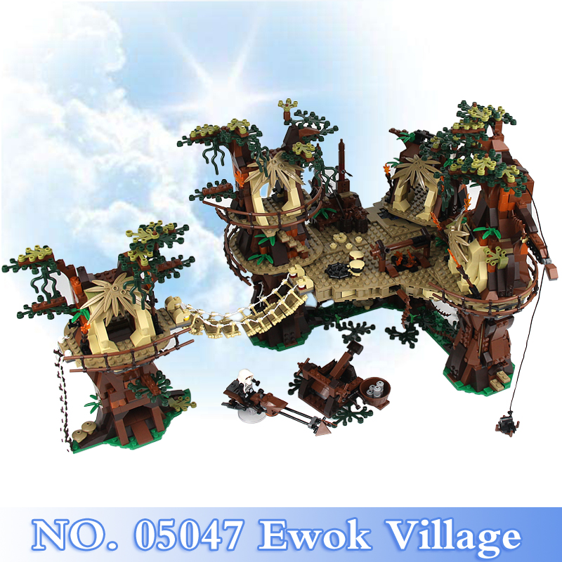 Lepin 05047 Star War Series 1990Pcs Ewok Village Figures Building Blocks Bricks Set Toy For Children Model Kits Compatible 10236 2016 new lepin 05047 1990pcs star wars ewok village model building kits figure blocks bricks compatible children toy 10236