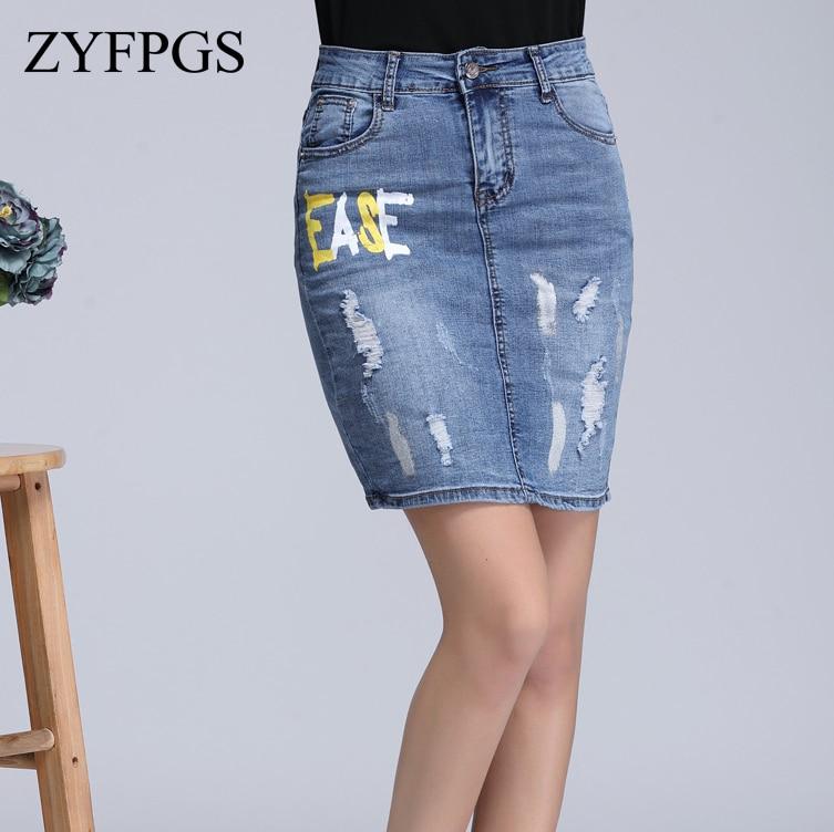 dbcdf49c493c ZYFPGS 2018 Denim Skirt Letter Printing Denim Overalls For Women Summer And  Autumn Street Fashion Denim