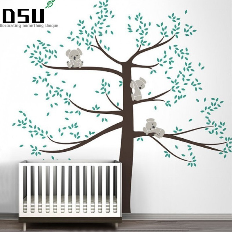 Spring Koala Tree Vinyl Wall Decal Removable Wall Sticker Tree Nursery Vinyls Baby Room Decor Wall Stickers D503 Wallpaper removable diy tree and birdcage pattern wall sticker for living room decor