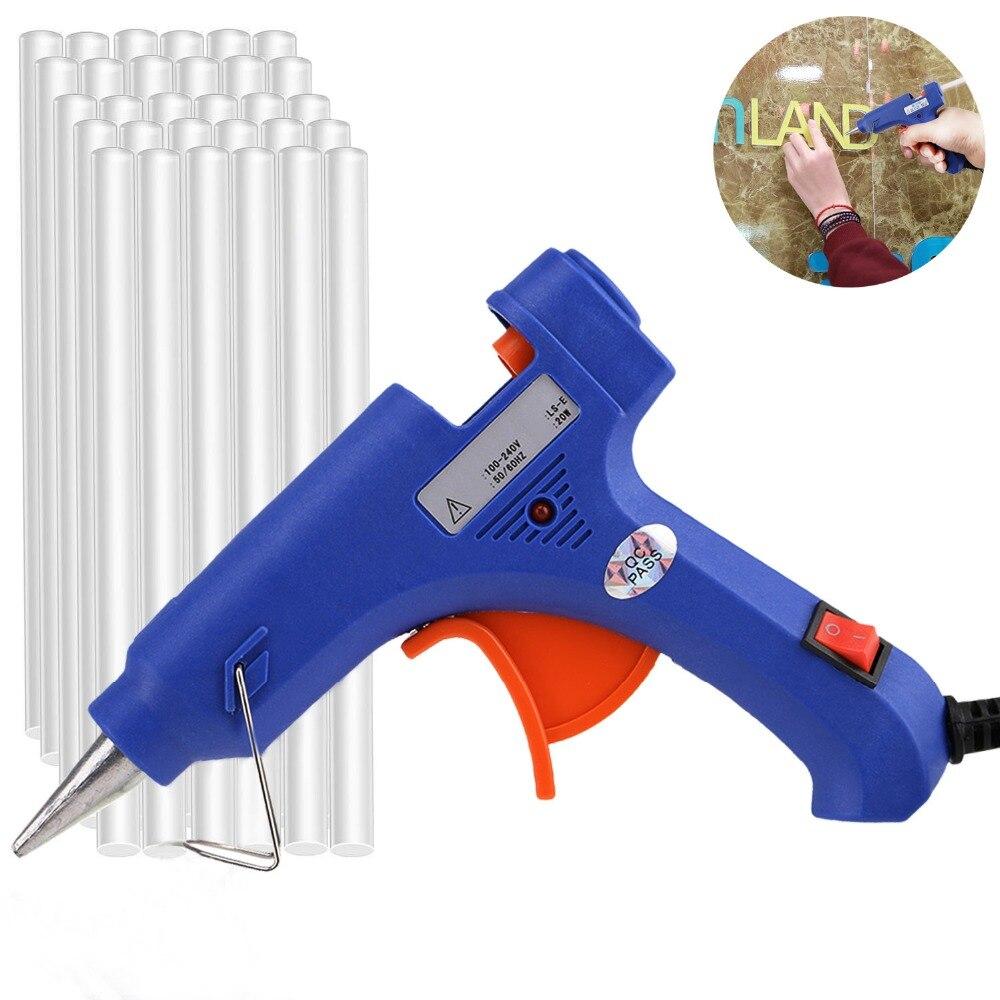 EU/US разъем 20 Вт мини термоклей пистолет с 30 шт. 7 мм ясно, клей-карандаш ремонт тепла инструмент пистолет Электрический тепла Температура инструменты