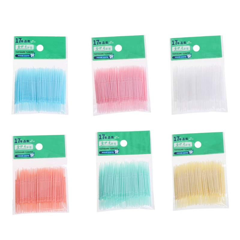 100Pcs/Lot Soft Plastic Double-headed Brush Stick Floss Pick Toothpick Oral Care Dental Flosser New Teeth Care Tools