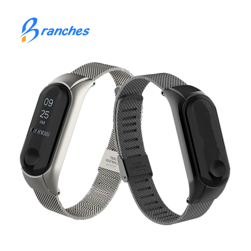 MiBand 3 Wrist Band Belt Bracelet for Xiaomi Mi Band 3 Miband 3 Strap Screwless for Xiaomi Mi Band 3 Strap Metal Stainless Steel tpu band with white round dot for xiaomi miband 1s
