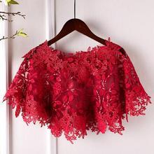 女性の春夏の花のレース刺繍赤パシュミナ女性夏ヴィンテージサンスクリーンジャカードレースショールR818