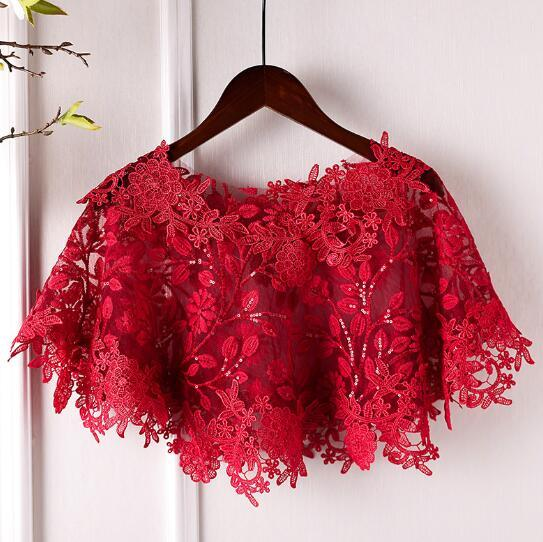 Womens Spring Summer Flower Lace embroidery Red Pashmina Female Summer Vintage Sunscreen Jacquard Lace Shawl R818