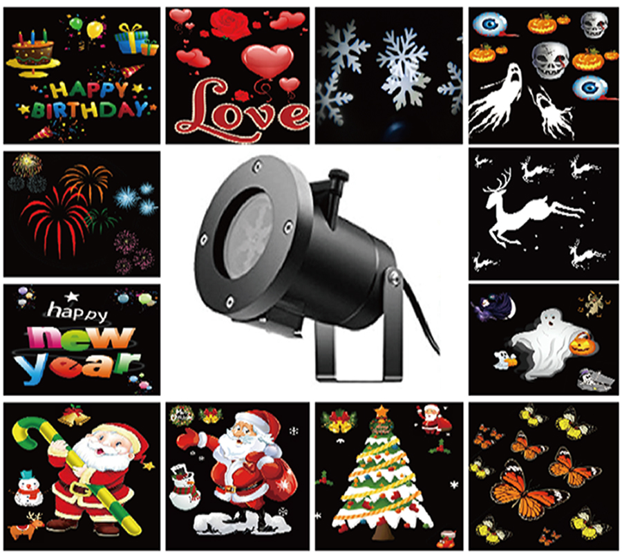 New Holiday Decoration Waterproof Outdoor LED Stage Light 12 Types Christmas Laser Snowflake Projector Lights Star