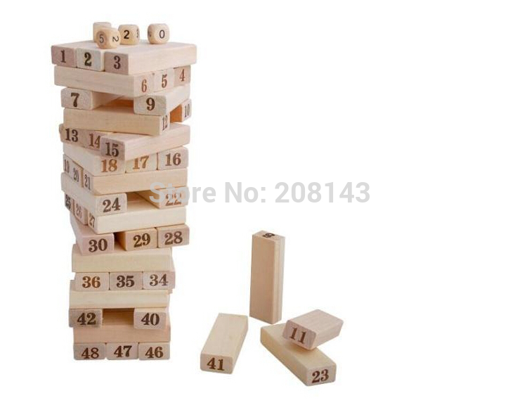ФОТО LeadingStar Family Game Wooden  Blocks+4Pcs Dice Tumbling Stacking Tower Digital Building Blocks Popular Game Education Gift