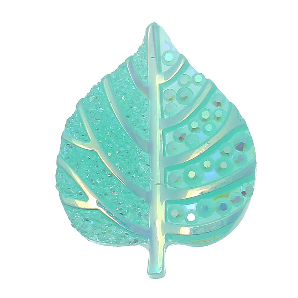DoreenBeads Resin Embellishments Findings Leaf Light green AB Color Branch Pattern Faceted 20mm(6/8)x 16mm(5/8),50 PCs