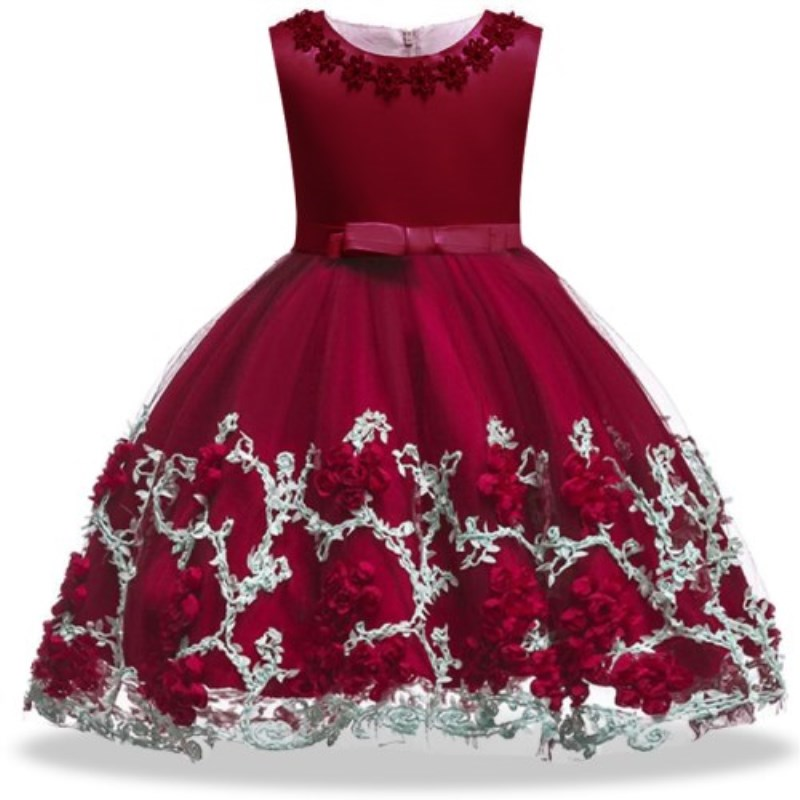 Kids Birthday Princess Party Dress for Girls Infant Flower Children Bridesmaid Elegant Dress for Girl baby Girls Clothes red blue kids dresses for girls long sleeve princess dress girls clothes flower bow decortion baby infant girl dress cheep price