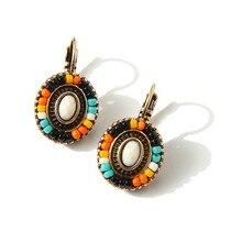 2016New Bohemian National Wind Flower Earrings Clip On The Earrings Wholesale Cheap Colorful Resin Beads Earrings For Women Gift