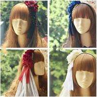 Princess sweet lolita Hairbands all match detachable hoop veil gorgeous Rose Velvet double beads Bow Headband KC flower MHTSP014