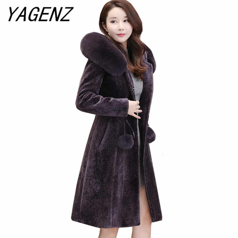 High-end brand Women Winter Hooded Wool Jacket Coats Fashion Warm Thick Slim Long Overcoat Large size Female Faux Fur coats 6XL