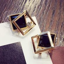 Женские квадратные серьги-гвоздики, серьги золотого цвета с кристаллами, ярко-синего и черного цвета, Ювелирное Украшение для женщин