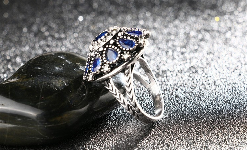 Charms Silver Color Vintage Jewellery Set Fashion Black Crystal Flower Jewelry Sets For Women Wedding Party Birthday Gift Bijoux