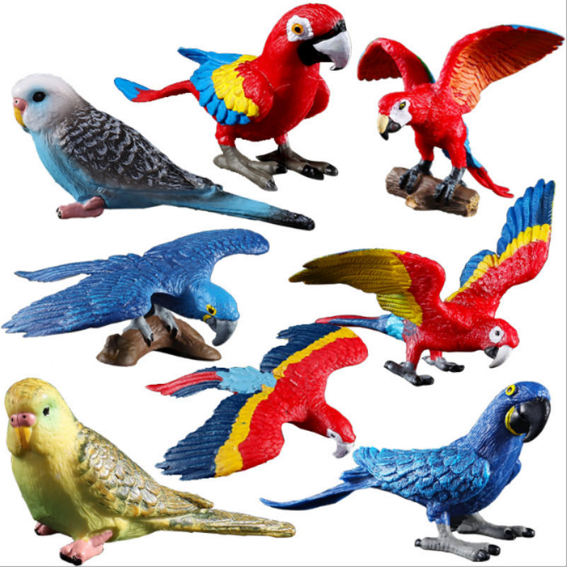 Toy Animal-Model Solid-Simulation Children's 8-Optional Macaw Bird Wild Colorful