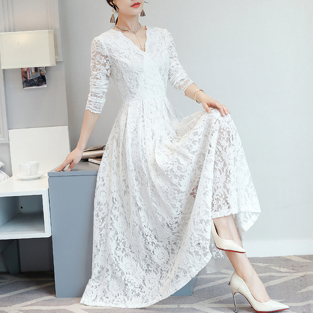 2019 Autumn Lace Maxi Dress Women Fashion V Neck Long Sleeve Elegant