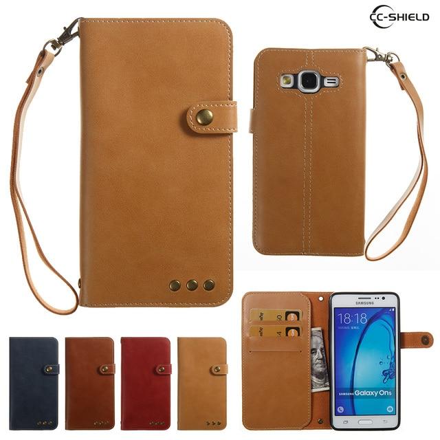 best website 62b49 a7097 US $7.23 6% OFF|Case for Samsung Galaxy On5 G550T G550T1 Bracket Flip  Wallet Card Slot PU leather case for Samsung On 5 SM G550T SM G550T1  capa-in ...