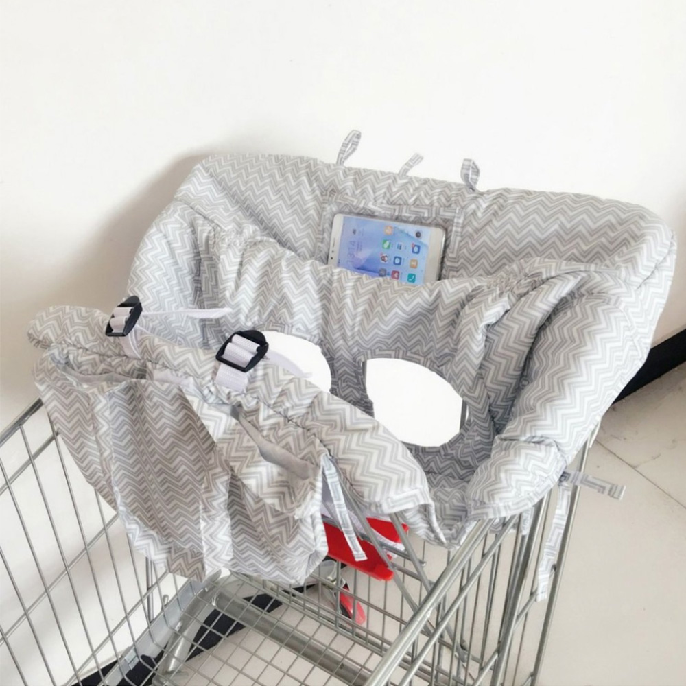 Portable bébé panier coussin anti-bactéries enfants chariot tapis doux infantile chaise siège Protection couverture avec téléphone argent sac