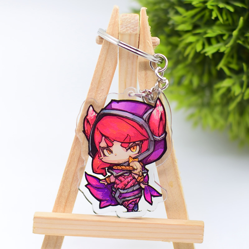 LOL Xayah And Rakan Keychain Cute Double Sided Acrylic Key Chain Pendant Anime Accessories Cartoon Key Ring DBS1P