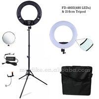 Yidoblo черный FD 480II 18 светодиодные лампы кольца комплект 480 LED теплый и холодная настроить свет лампы фотографическое освещение + подставка (2 м)