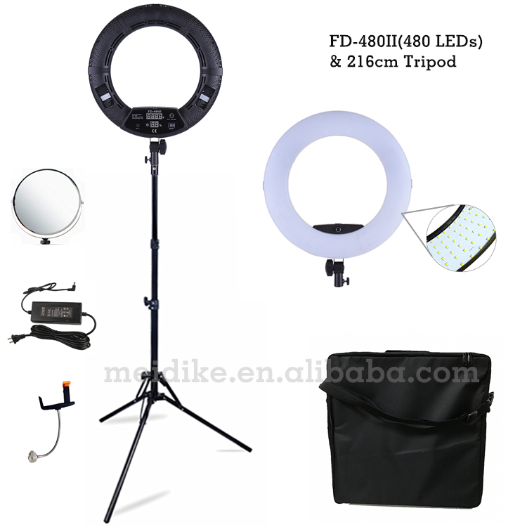 Yidoblo Black FD-480II 18 LED Ring lamp Kit 480 LED Warm & Cold Adjust Light Lamp Photographic Lighting + stand (2M)+ Soft bag