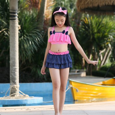 Free Shopping Hot Summer Girls Swimsuit with a Cute Bow Kids Bikini set Baby Plaid Swimwear for Girls about 7-16 Years old girls cute knitted sweater with skirt kids set wear sweet style with bow knot for spring