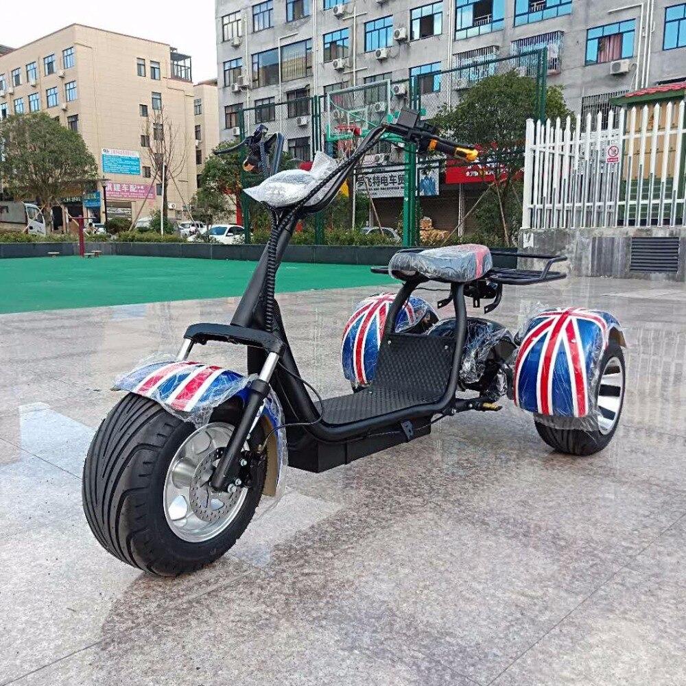 Moto vélo électrique Citycoco scooter électrique trois roues moteur 1500 W batterie au Lithium 12A moto électrique charge rapide