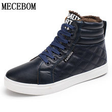 Hot sale mens winter plush warm shoes pu soft leather ankle boots black mens casual shoes sapato size 39-44 LA19M