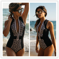 2017 Black And White Floral Printed Zipper One Piece Swimsuit Bikini Bathing Suit Swimwear Beachwear For