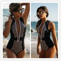 2017 Black And White Floral Printed Zipper One Piece Swimsuit Bikini Bathing Suit Swimwear Beachwear For