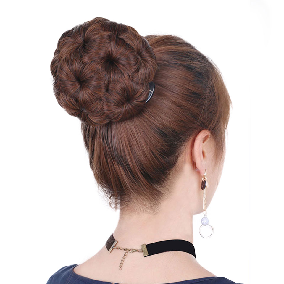 DIFEI Women Chignon Hair Bun Donut Clip In Hairpiece 9 Flowers Roller Clip in Fake Hair Accessories High Temperature Fiber ...