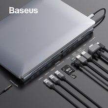 Baseus 11in1 Multi USB C HUB Type to HDMI VGA RJ45 Ports 3.0 USB3.0 Type-C Splitter for Macbook Pro Air USB-C