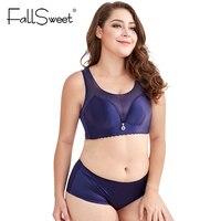 FallSweet Seamless Plus Size Lingerie Set Women Push Up Bras Set With Mesh No Wire Underwear