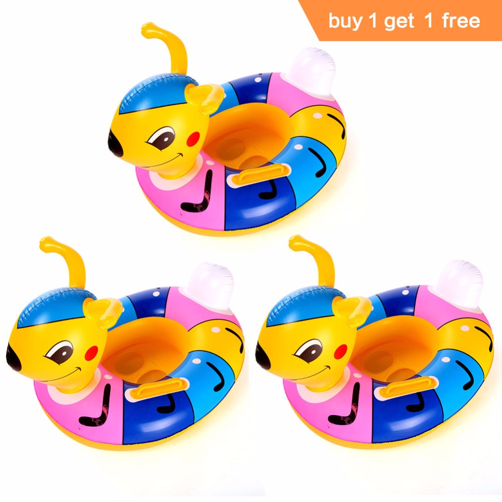 LumiParty 2 Pcs Children Inflatable Pool Toys Swimming Float Seat Cartoon Ant Swim Ring Swimming Boat