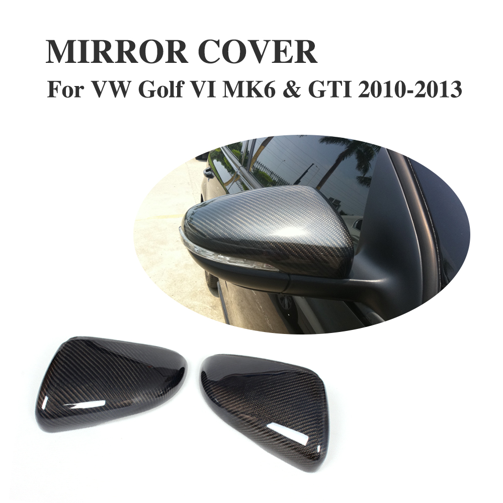 Carbon Fiber Auto Review Mirror Cover Caps For Volkswagen VW Golf 6 VI MK6 & GTI 2010-2013 2PCS/Set real carbon fiber mirror cover case for vw golf 7 mk7 gti tsi vii jdm 2013 2015 [1031001]