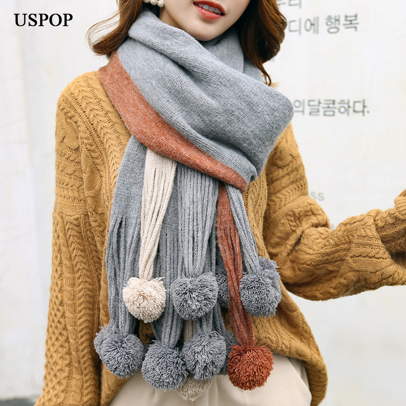 USPOP 2020 New women scarves fashion winter thick long scarf color patchwork pompoms pashmina soft warm thickened winter shawl