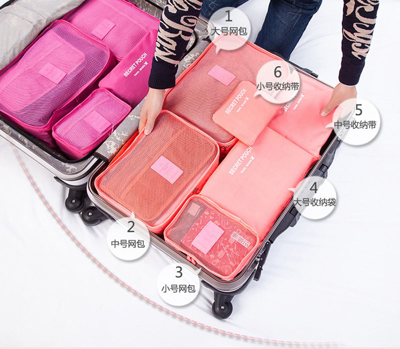 BalleenShiny 6pcs families Travel Clothes Underwear Socks Storage Bags Packing Cube Luggage Bag For six sets Points bagging