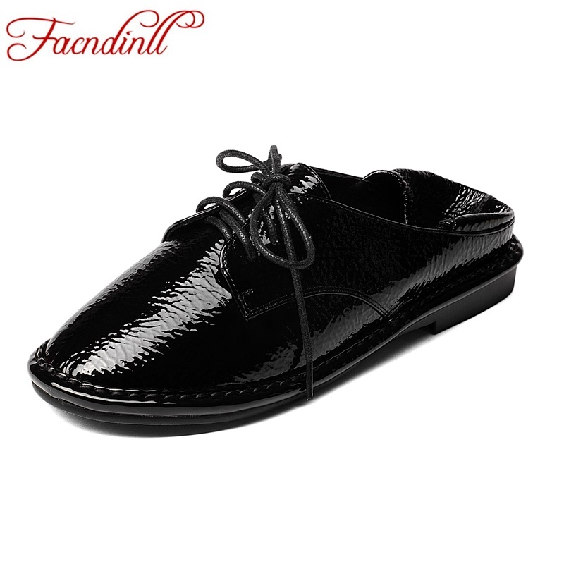 FACNDINLL women flats shoes new fashion genuine leather black red flat heel round toe lacu-up shoes owman loafers autumn shoes brilliant genuine sheepskin leather flat heel single shoes 2016 spring summer square toe rhinestones black rose red ballet flats