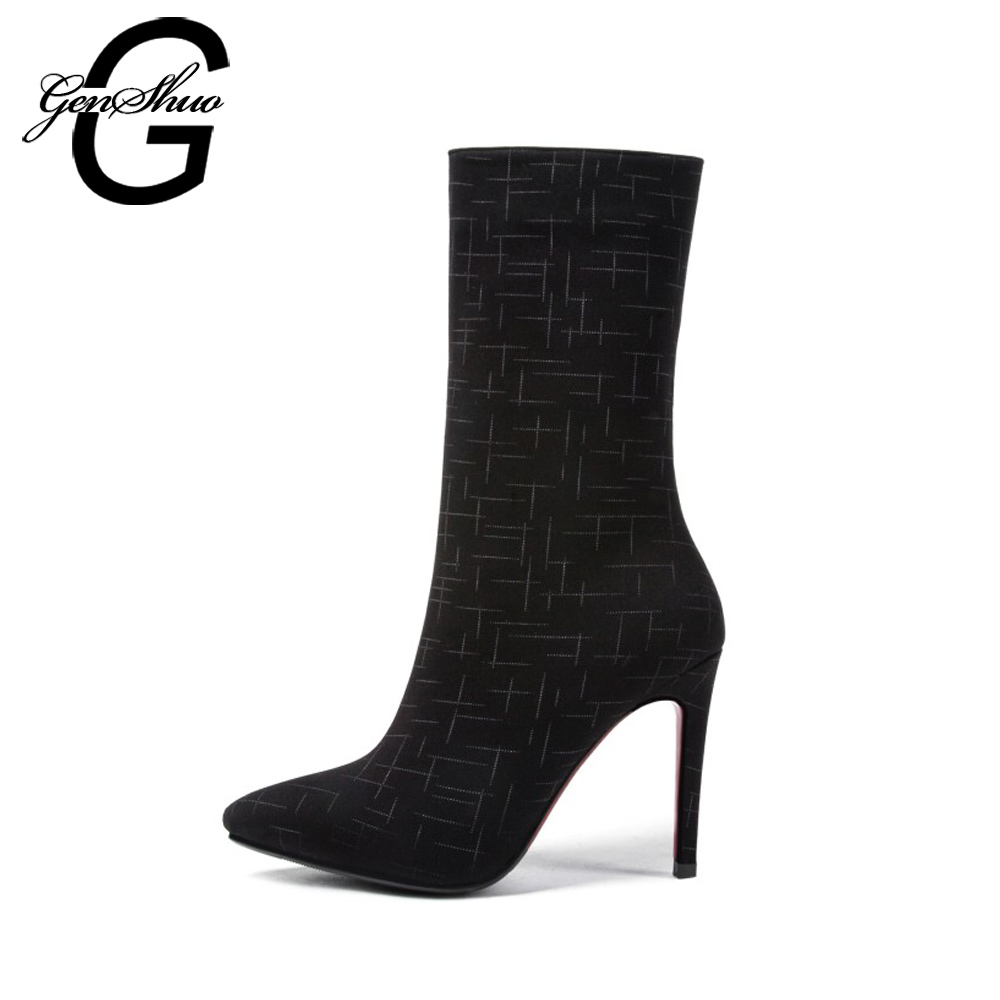 GENSHUO Elegant Winter Shoes Mid Calf Boots For Women Sexy Ladies Shoes Pointed Toe Zipper Short Plush Thin High Heels Shoes