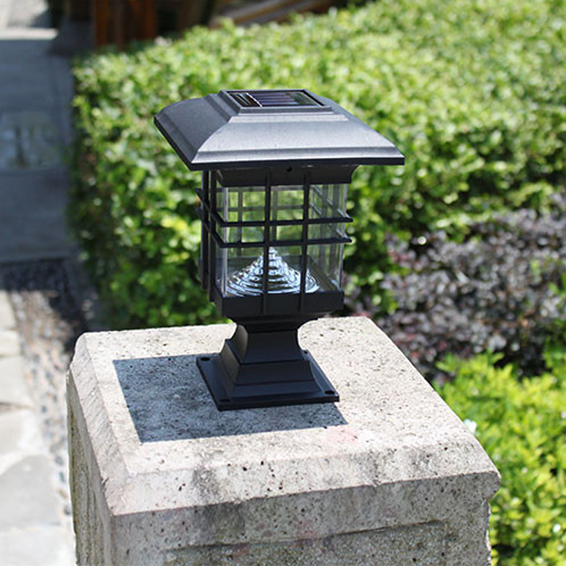 New retro waterproof led solar panel lamps pillar wall lamp led solar lights outdoor garden home - Decorative garden lights ...