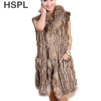 CDV166 Hot Sale Knitted Long Rabbit Fur Gilet With Raccoon Dog Fur Trim For Spring And