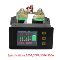 DC 120V 100A 200A 300A 500A LCD Combo Meter Voltage Current Monitoring Monitor Battery Capacity Power Monitoring Tools