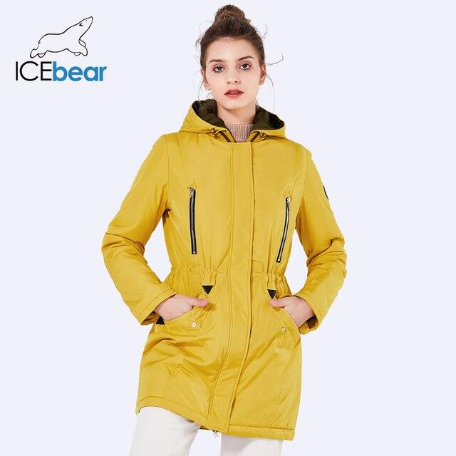 ICEbear 2019 New Nhãn Hiệu Quần Áo Phụ Nữ Mùa Xuân Parka Womens Dài Áo Khoác Mỏng Với Mũ Có Thể Tháo Rời Áo Ấm 16G262D