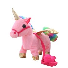 35cm Lovely Electric Walking Unicorn Plush Toy Soft Stuffed Animal Electronic Doll Sing the Song for Baby Birthday Gifts