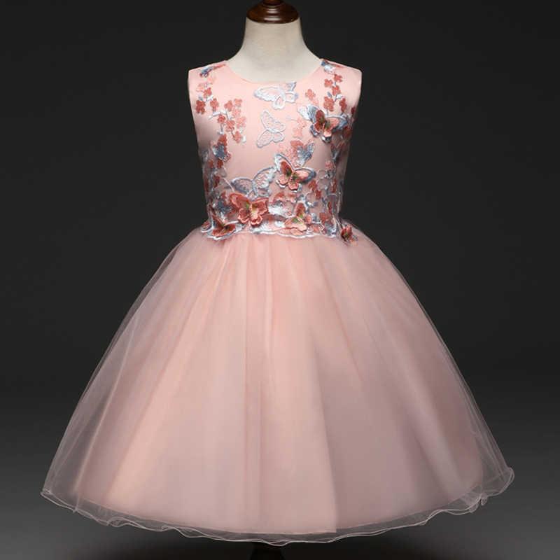 Keelorn/высококачественное платье для девочек; платья для дня рождения с бабочками для маленьких девочек; детское нарядное бальное платье принцессы; детское свадебное платье