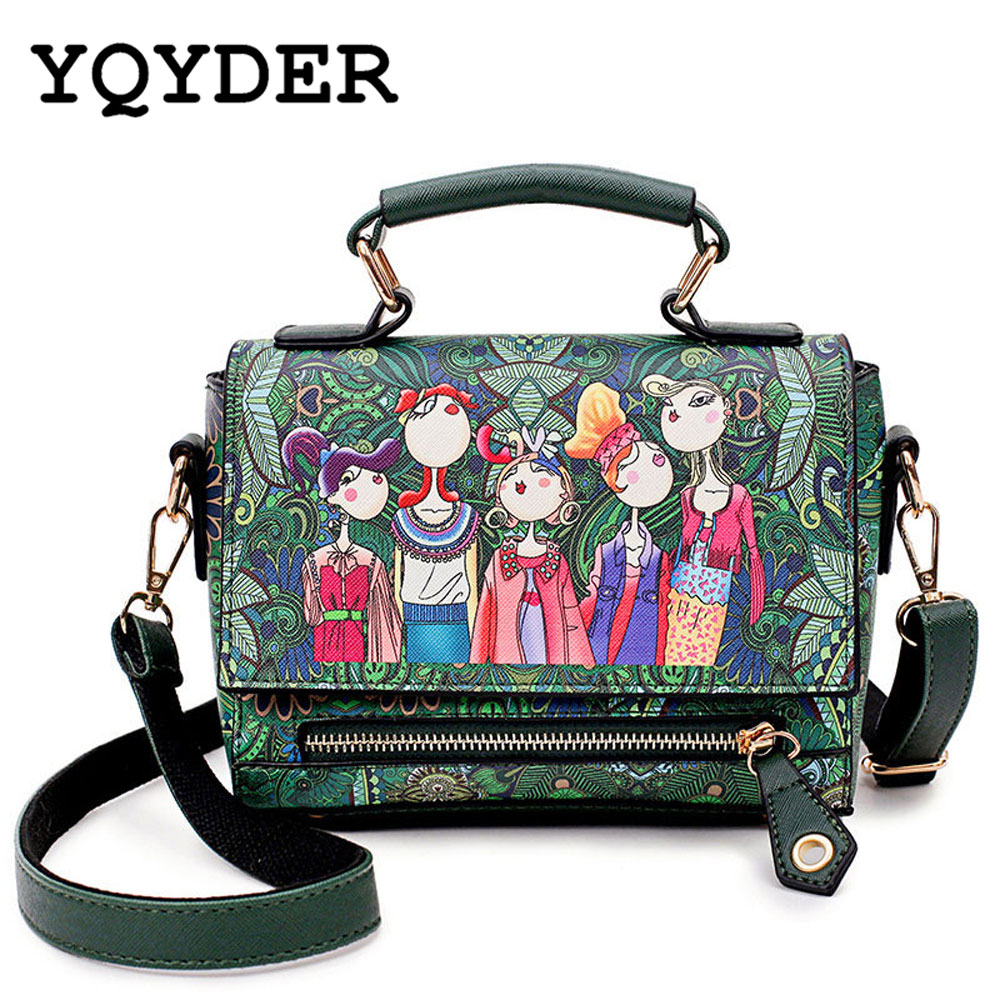 YQYDER Fashion Women Leather Messenger Bag National Style Flower Print Handbag Ladies Small Crossbody Bags Women Shoulder Bags